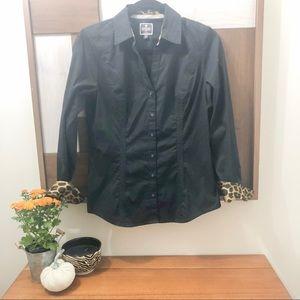 Express Black Shirt with Leopard Cuff
